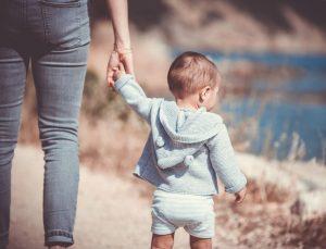 toddler with parent